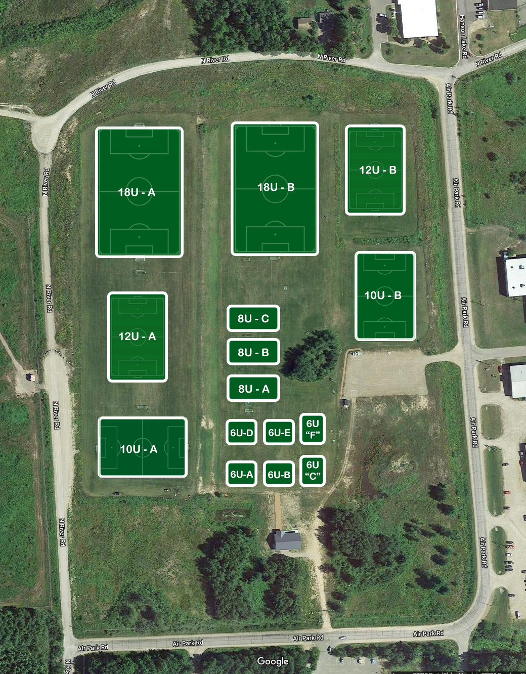 2019 Soccer Field Layout Map